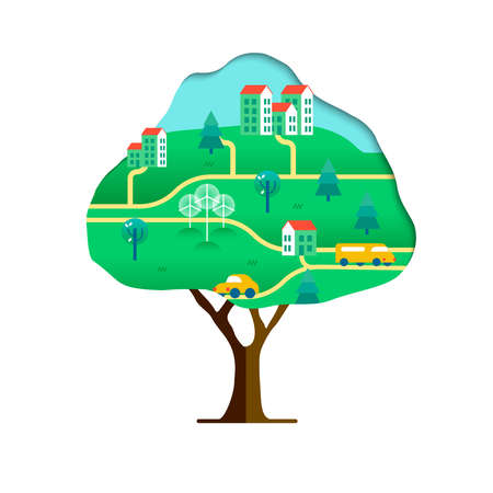 Tree with green city paper cutout isolated over white. Environment care concept for nature help. Sustainable community includes wind mill turbine, electric cars and smart houses.vector.