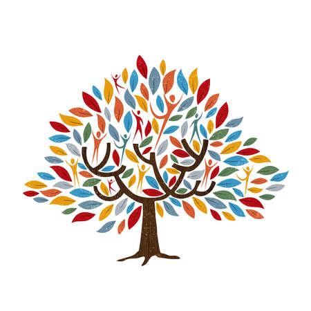 Stamboomsymbool met mensen en kleurenbladeren. Conceptenillustratie voor gemeenschapshulp, milieuproject of culturele diversiteit. vector. Vector Illustratie