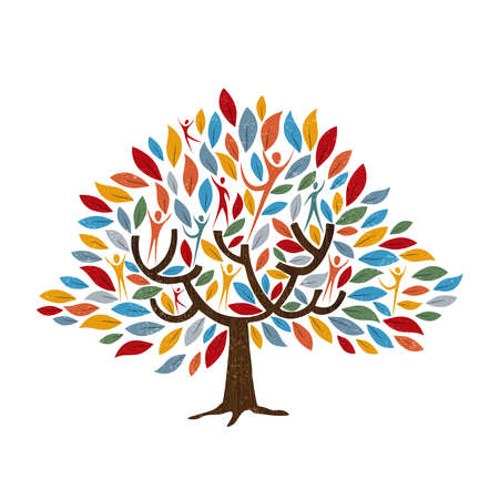 Family tree symbol with people and color leaves. Concept illustration for community help, environment project or culture diversity. vector.