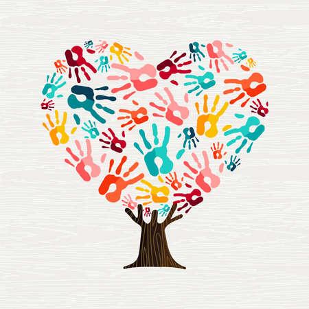 Baum aus bunten menschlichen Händen in Herzform. Community-Hilfe-Konzept oder soziales Projekt. Vektor.