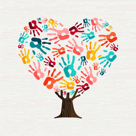 Tree made of colorful human hands in heart shape. Community help concept or social project. vector. Stock Illustratie