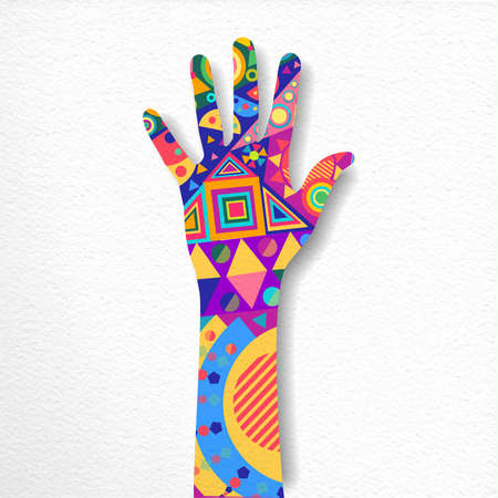 Human hand with colorful shape decoration on isolated background. Paper cutout style concept illustration. vector.