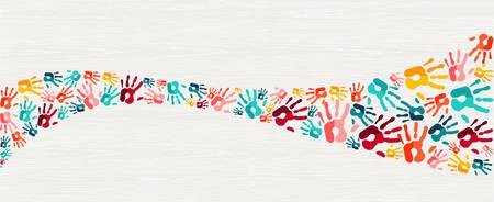 Concetto di sfondo di impronte di mani a colori, illustrazione di stampa a mano umana per l'educazione dei bambini, l'apprendimento scolastico o diversi aiuti della comunità. vettore. Vettoriali