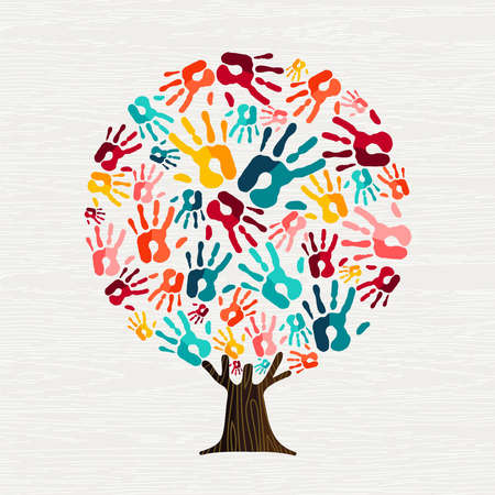 Tree made of colorful human hands in branches. Community help concept, diverse culture group or social project.  vector. Иллюстрация