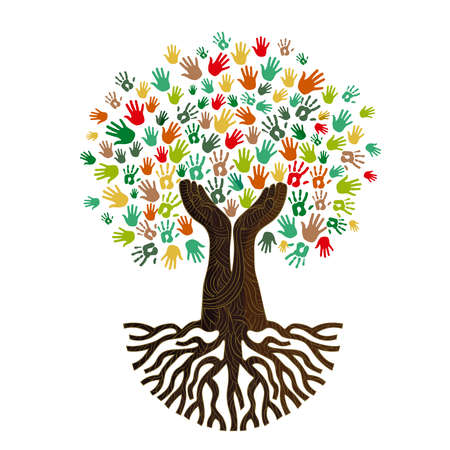 Tree with colorful human hands together. Community team concept illustration for culture diversity, nature care or teamwork project. vector. Çizim