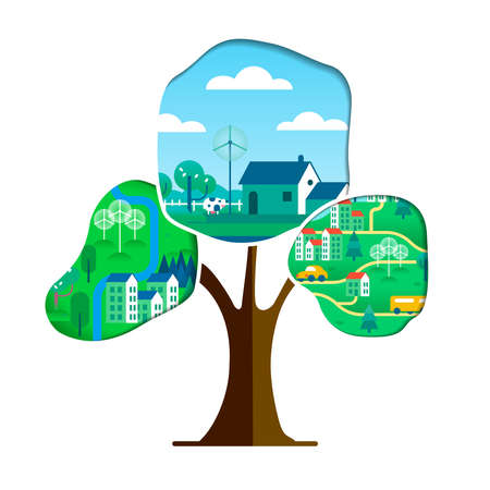 Tree with green city paper cutout  isolated over white. Environment care concept for nature help. Sustainable community includes wind mill turbine, electric cars and smart houses. vector. Vettoriali