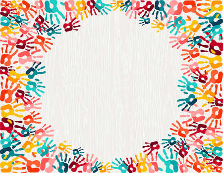 Color handprint background concept, human hand print illustration for kid education, school learning or diverse community. vector.
