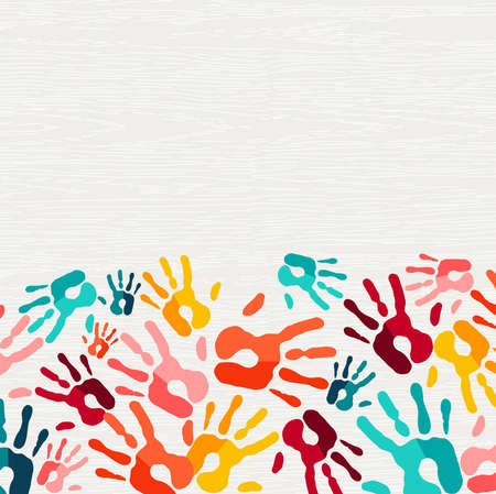 Color handprint background concept, human hand print illustration for kid education, school learning or diverse community help.  vector. Stock Illustratie
