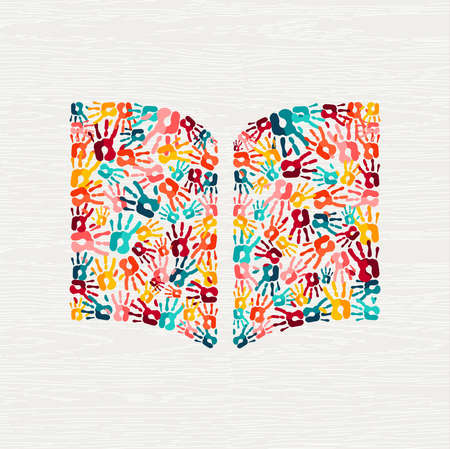Human hand print book shape concept. Colorful paint handprint background for education or social project. vector. Illustration