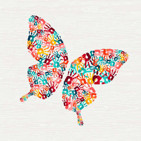Human hand print butterfly shape concept. Colorful paint handprint background for diverse community or social project. vector.