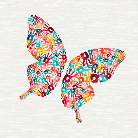 Schmetterlingsformkonzept des menschlichen Handdrucks. Bunter Farbhandabdruckhintergrund für vielfältiges Gemeinschafts- oder soziales Projekt. Vektor.