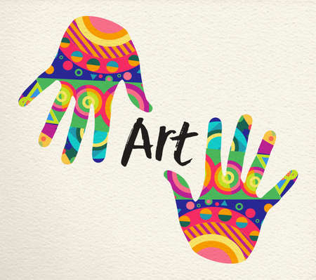 Colorful human hands for art concept. Hand prints with abstract color shape decoration on paper texture background. vector. Illustration
