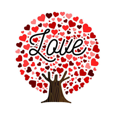 Love tree art with heart shape leaves. Concept illustration for valentines day or romantic greeting card. vector.