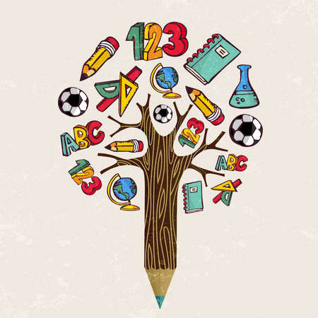 Education pencil tree concept. Class subject icons for back to school design or educational children illustration. vector.
