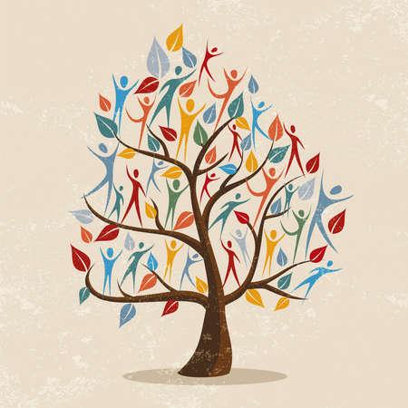 Symbol drzewa genealogicznego z kolorowymi ludźmi. Ilustracja koncepcji pomocy społeczności, projektu środowiskowego lub różnorodności kulturowej. wektor.