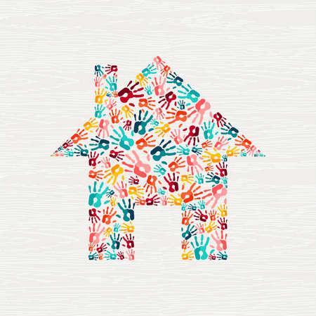 Koncepcja kształtu domu drukowania ludzkiej dłoni. Kolorowe tło odcisków dłoni do domu wspólnoty lub projektu społecznego. wektor.
