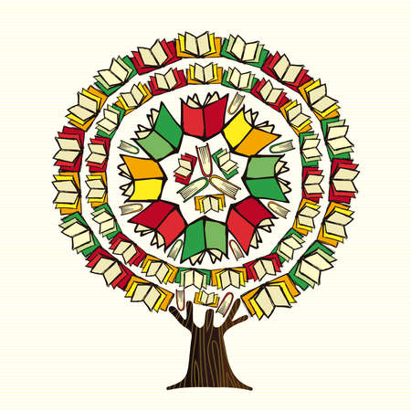Tree made of books, global education concept. Educational illustration for back to school or library book project. vector.
