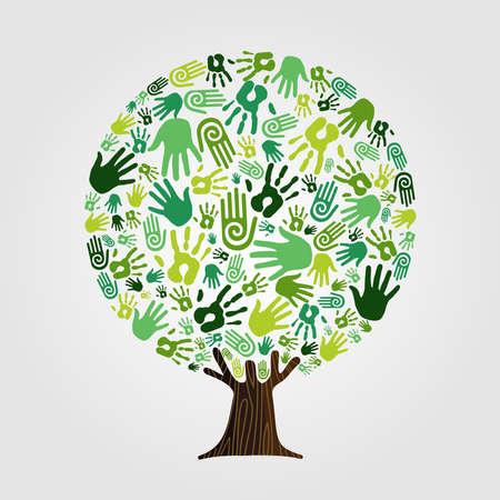 Árbol hecho de manos humanas verdes con ramas y raíces. Concepto de ayuda de la naturaleza, grupo de medio ambiente o trabajo en equipo de cuidado de la tierra. vector.