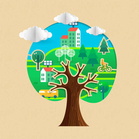 Tree with green city stickers in texture paper cut. Sustainable community, wind mill turbine, electric cars and smart houses. vector. Illustration