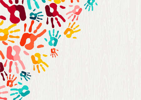 Color handprint background concept, human hand print illustration for kid education, school learning or diverse community help. vector.