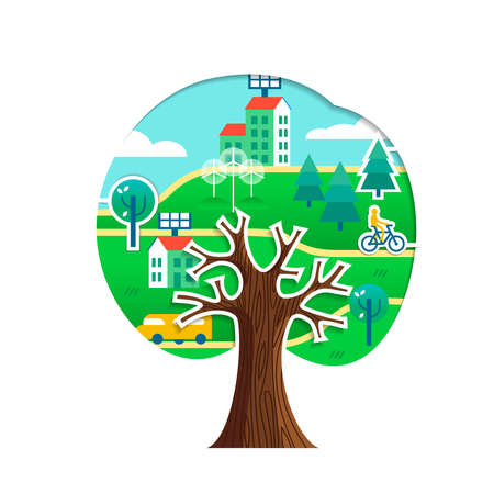 Tree with green city stickers isolated over white. Sustainable community, wind mill turbine, electric cars and smart houses.  vector. Ilustração