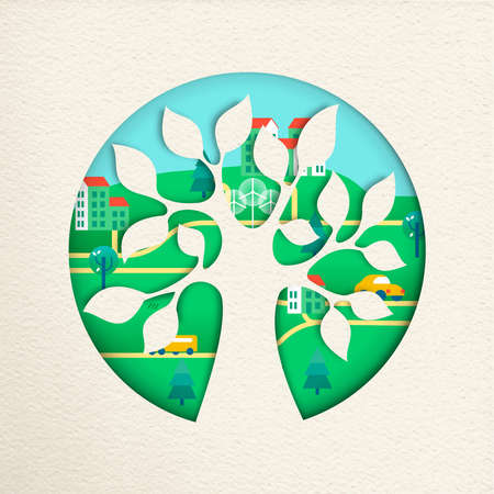 Tree with green city in textured paper cut style. Sustainable community, wind mill turbine, electric cars and smart houses. vector.