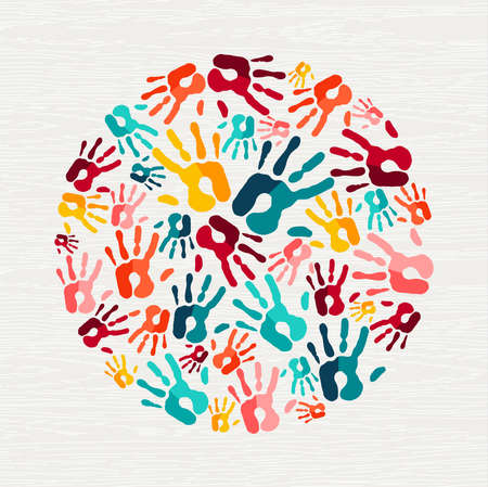Human hand print shape concept. Colorful paint handprint background for diverse community or social project. vector.