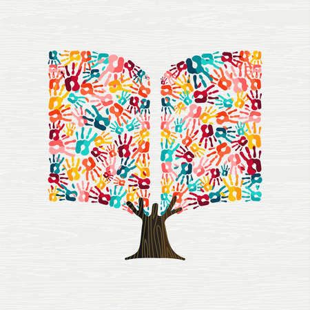 Tree made of colorful human hands in book shape. Community library concept, education or social project.vector.