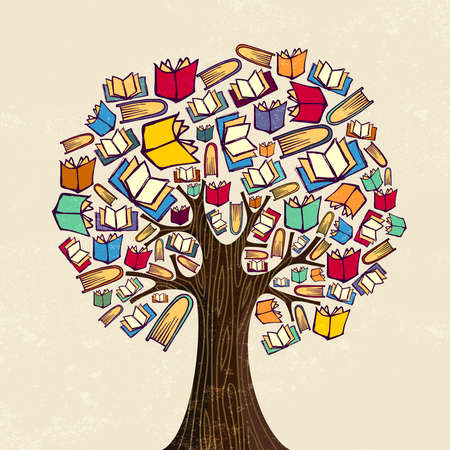 Education tree concept. Book icons for back to school design or class learning illustration. vector.