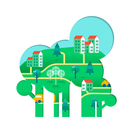 Tree with green city paper cutout. Environment care concept for nature help. Sustainable community includes wind mill turbine, electric cars and smart houses. vector. Illustration