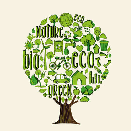 Tree made of eco friendly icons and symbols, think green concept. Environment help illustration for planet conservation.  vector.