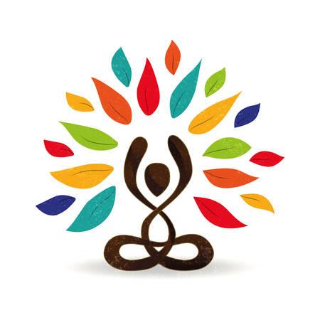 Ilustración de concepto de yoga abstracto, persona haciendo meditación de pose de loto con hojas verdes para la conexión con la naturaleza vector. Foto de archivo - 103831029