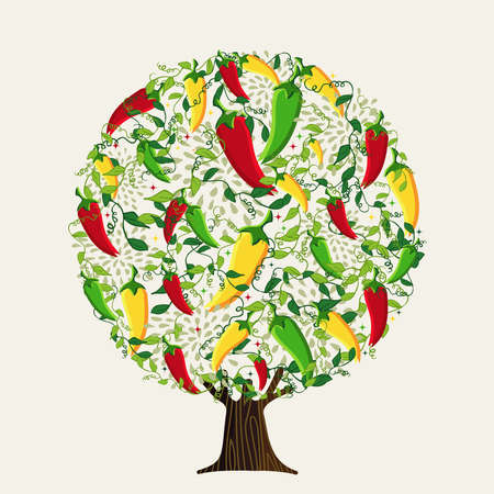 Tree made of spicy mexican peppers. Colorful chili pepper illustration concept for ethnic restaurant or hot food ingredient. vector.