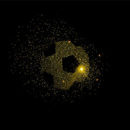 Soccer ball silhouette concept illustration, gold sport football icon made of realistic golden glitter dust on black background.vector.