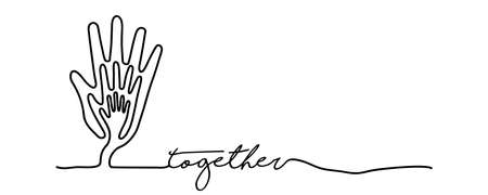 Togetherness concept web banner with continuous line illustration of hand inside a tree.  vector. Stock Illustratie