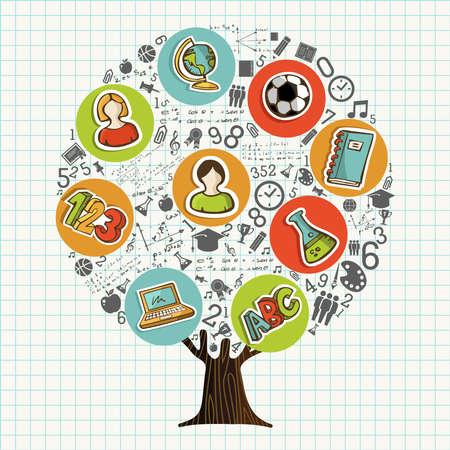Arbre fait d'icônes et de symboles de sujet de lycée, concept d'éducation globale. Illustration pédagogique pour la rentrée scolaire ou cours en ligne. vecteur.