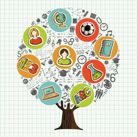 Tree made of highschool subject icons and symbols, global education concept. Educational illustration for back to school or online course. vector.