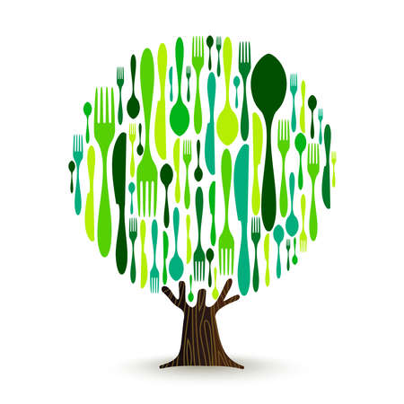 Tree made of restaurant cutlery in green color. Illustration concept for healthy eating or organic food. vector.