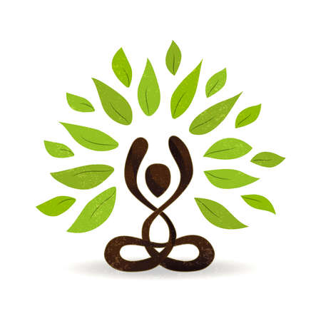 Abstract yoga concept illustration, person doing lotus pose meditation with green leaves for nature connection. vector. Stock Illustratie