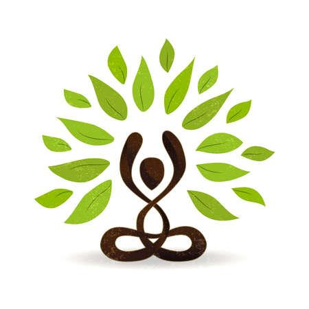 Abstracte yoga concept illustratie, persoon doet lotus pose meditatie met groene bladeren voor natuurverbinding. vector.