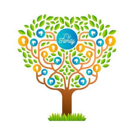 Big family tree template concept with people icons and colorful green leaves for life generations history.  vector.