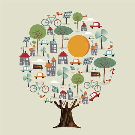 Boom met groene aarde, duurzame stad. Milieuzorgconcept omvat elektrische auto's, windmolenturbine, fietsen en zonnepanelen voor natuurhulp. vector.