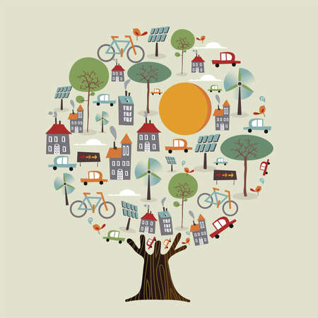Tree with green planet earth, sustainable city. Environment care concept includes electric cars, wind mill turbine, bicycles and solar panels for nature help. vector.