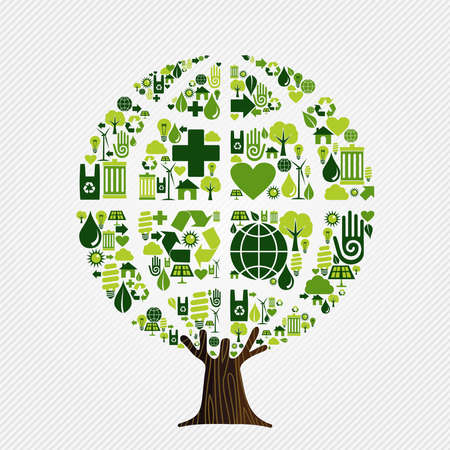 Tree made of eco friendly icons, think green concept. Environment help illustration includes recycling symbol, human hand and wind mill turbine. vector. Ilustracja