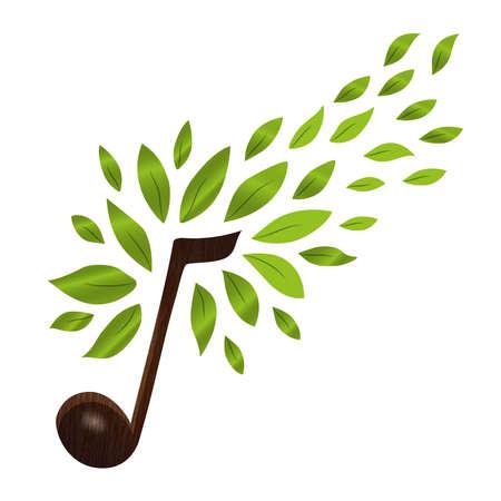 Muzieknota met groene boombladeren, conceptillustratie van muzikaal symbool en aarddecoratie. vector.