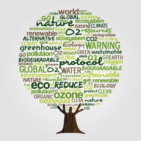 Tree made of eco friendly typography quotes, think green concept. Environment help illustration with powerful earth conservation words. vector. Vettoriali