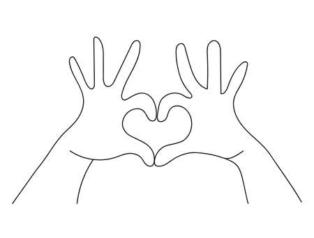 Hands making heart shape sign concept in simple outline style, doodle of human hand showing love.  vector.