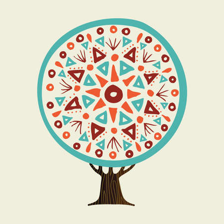 Tree with boho style mandala art, indian inspired illustration. Abstract handmade tribal decoration. vector.  イラスト・ベクター素材