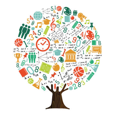 Tree made of highschool subject icons and symbols, global education concept. Educational illustration for back to school or online course. vector. Imagens - 103831334