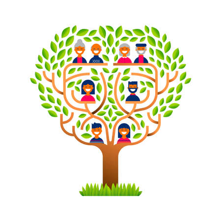 Big family tree template concept with people icons for life generations history. Includes kids, parents and grandparents.  vector.